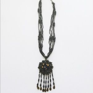 Woman's Black Beads and Metal Fashion Necklace